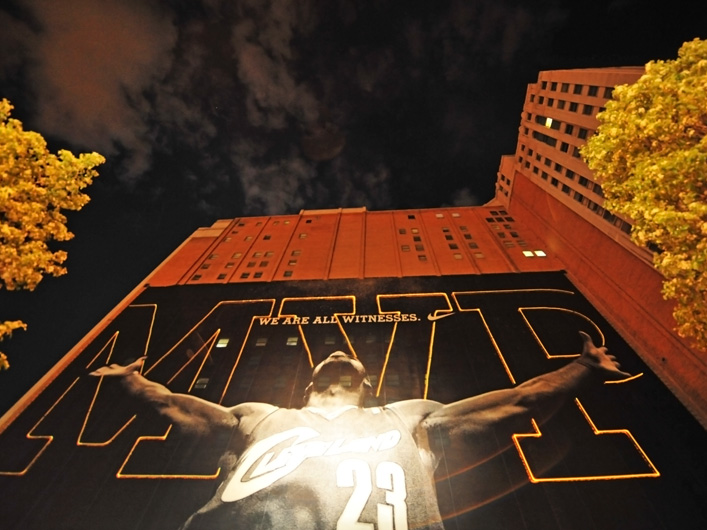 Lightwave International uses 39W of full color lasers to honor Cleveland Cavaliers NBA star LeBron James as MVP on a massive scale. With just 24 hours notice, Lightwave executed this laser spectacle for Nike on a 100'x 212' black banner draping a building adjacent to the Cavs arena.