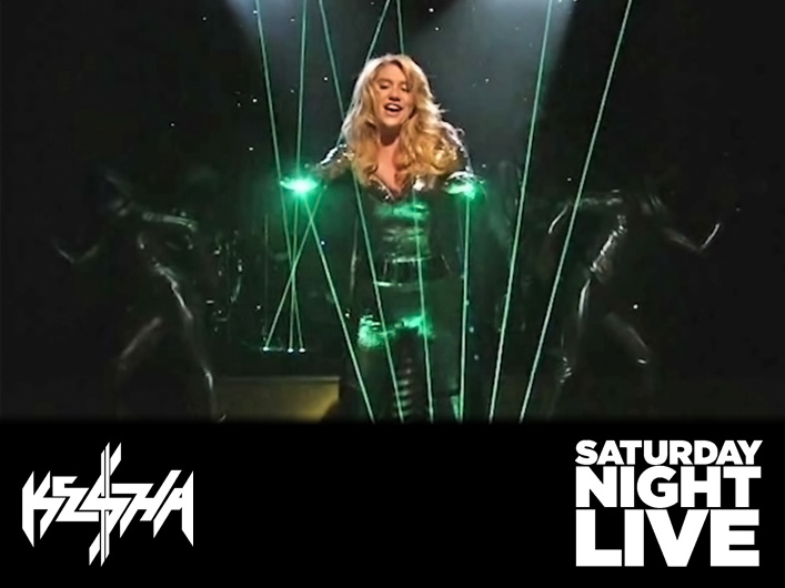 The amazing Laser Harp or Laser Synthesizer was used for the SNL performance by Ke$ha on Saturday April 17, 2010 on Saturday Night Live. Ke$ha paired with Lightwave International to put a massive full color laser on the SNL stage for this unique performance of Tik Tok.