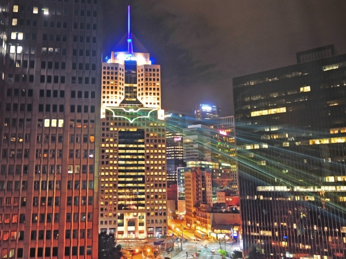 """To welcome director Christopher Nolan and the cast and crew of the new film """"The Dark Knight Rises"""" to the city of Pittsburgh, Lightwave International was called upon to project the caped crusader's logo on the city skyline in brilliant laser light."""
