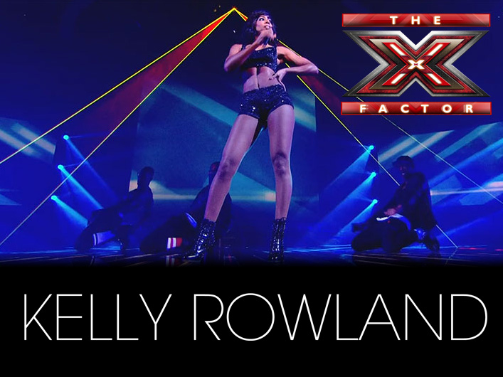 """Judge Kelly Rowland took to the stage during X-Factor UK's semi-final results show on December 4 to perform her hit singles """"When Love Takes Over"""" and """"Down For Whatever."""" Accompanying her energetic performance were over 42 watts of laser power from Lightwave's Prism Series laser projectors."""